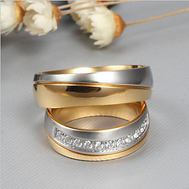12a32dc390 cheap Couple Rings-Couple's AAA Cubic Zirconia Two tone Couple Rings