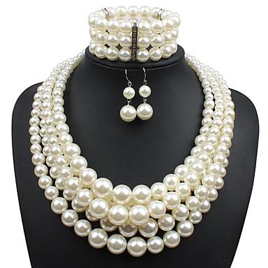 ieftine Seturi de Bijuterii-Pentru femei Perle Seturi de bijuterii Cercei Picătură Suvite de perle Multistratificat Declarație femei Asiatic Elegant Imitație de Perle cercei Bijuterii Rosu / Roșu Vin / Gri Pentru Casual Serată