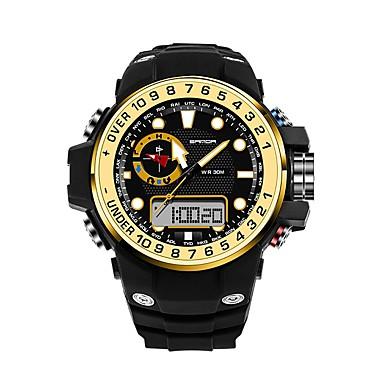 SANDA رجالي ساعة رياضية ساعة رقمية ياباني رقمي مطاط أسود 30 m مقاوم للماء رزنامه تصميم جديد تناظري-رقمي ترف موضة - أحمر أزرق ذهبي / ساعة التوقف / قضية