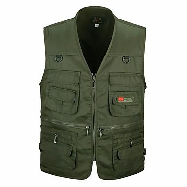 رجالي مناسب للبس اليومي / الرياضة أساسي / عسكري خريف & شتاء قياس كبير عادية Vest, لون سادة V رقبة بدون كم قطن / أكريليك / بوليستر أسود / أخضر داكن