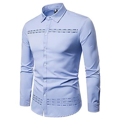 رجالي عمل الأعمال التجارية / أساسي مقصوص قميص, لون سادة / كم طويل