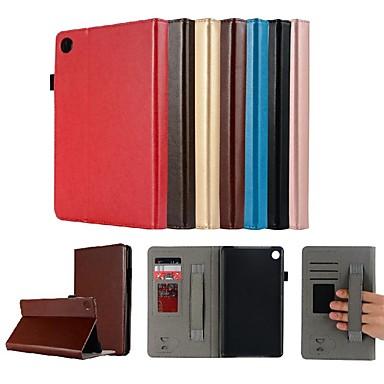 غطاء من أجل Huawei Huawei MediaPad M5 8 حامل البطاقات / مع حامل / مغناطيس غطاء كامل للجسم لون سادة قاسي جلد PU