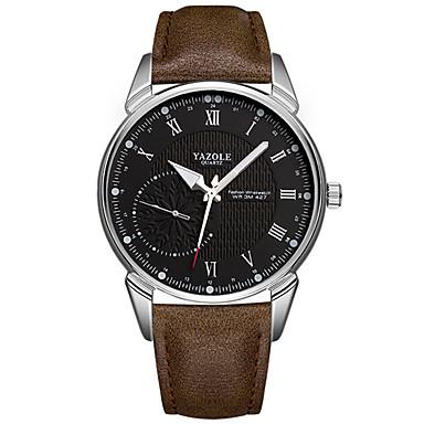 YAZOLE رجالي ساعة المعصم كوارتز جلد اصطناعي أسود / بني قضية ساعة كاجوال كوول مماثل ترف الحد الأدنى - أسود-أسمر أسود / أبيض أبيض / البيج