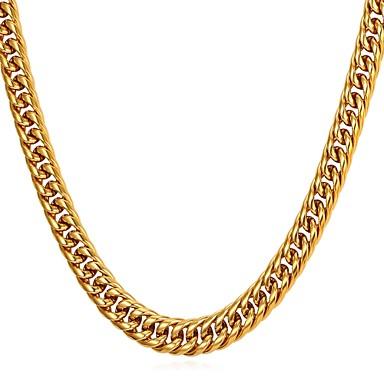 رجالي قلادات السلسلة سلسلة سميكة سلسلة الثعلب سلسلة فرانكو شائع موضة الفولاذ المقاوم للصدأ ذهبي أسود فضي 55 cm قلادة مجوهرات 1PC من أجل هدية مناسب للبس اليومي