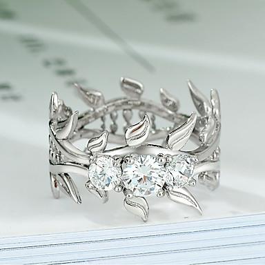 نسائي خاتم 1PC فضي نحاس مطلي بالبلاتينيوم تقليد الماس سيدات شائع الكورية مناسب للبس اليومي مناسب للخارج مجوهرات ستايل وردة تويجية نبات جميل كوول
