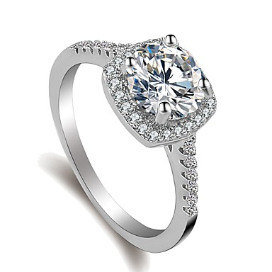 ieftine Inele-Pentru femei Inel / Belle Ring / Micro inel de pavele 1 buc Argintiu Alamă / Placat cu platină / Diamante Artificiale femei / Corean / Dulce Nuntă / Logodnă / Mascaradă Costum de bijuterii