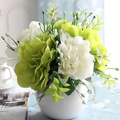 زهور اصطناعية 1 فرع فردي أنيق أرطنسية أزهار الطاولة