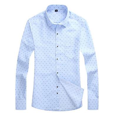 billige Herrers Mode Beklædning-Klassisk krave Herre - Prikker Forretning Arbejde Skjorte Navyblå XXXL / Langærmet
