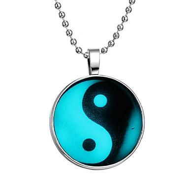 252a81c06b8e Hombre Piedra luminosa Largo Collares con colgantes Creativo Moda Azul 60  cm Gargantillas Joyas 1pc Para