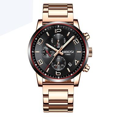 Недорогие Часы на металлическом ремешке-Муж. Наручные часы Кварцевый Нержавеющая сталь Черный / Серебристый металл / Коричневый Календарь Секундомер Компас Аналого-цифровые Классика На каждый день -  / Фосфоресцирующий