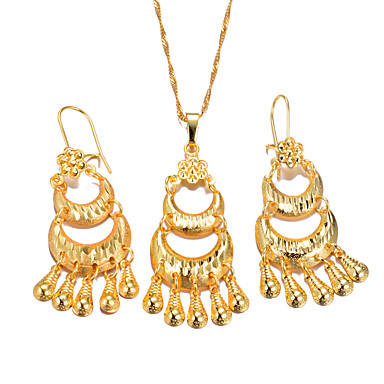 نسائي أقراط قطرة أقراط طارة قلائد الحلي سيدات عرقي الأقراط مجوهرات ذهبي من أجل مناسب للحفلات هدية / مفاتن