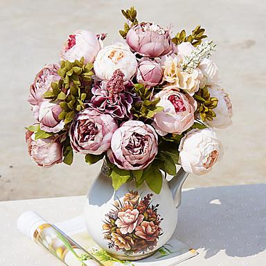 Künstliche Blumen 1 Ast Klassisch Europäisch Hochzeitsblumen Pfingstrosen Tisch-Blumen