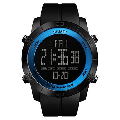 SKMEI رجالي ساعة رياضية ساعة رقمية رقمي جلد اصطناعي أسود 50 m مقاوم للماء رزنامه ساعة التوقف رقمي ترف كاجوال - أحمر أخضر أزرق / قضية