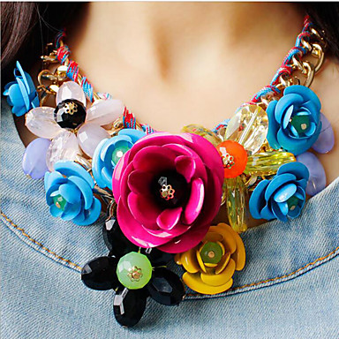 cheap Collar Necklaces-Women's Multicolor Statement Necklace Bib necklace Braided Bib Flower Rainbow Ladies Luxury Chunky Color Synthetic Gemstones Resin Plastic Green Pink Rainbow Necklace Jewelry 1pc For Party Special