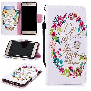 غطاء من أجل Samsung Galaxy A3 (2017) محفظة / حامل البطاقات / مع حامل غطاء كامل للجسم زهور قاسي جلد PU