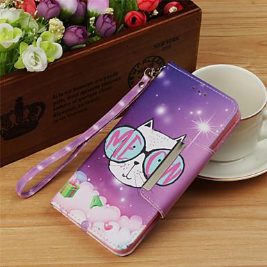 غطاء من أجل Samsung Galaxy S9 / S9 Plus / S8 Plus محفظة / حامل البطاقات / قلب غطاء كامل للجسم قطة / حيوان قاسي جلد PU