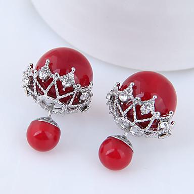نسائي حلقات كرة الديسكو سيدات بسيط موضة أنيق لؤلؤ تقليدي الأقراط مجوهرات أحمر من أجل فضفاض مناسب للبس اليومي 1 زوج