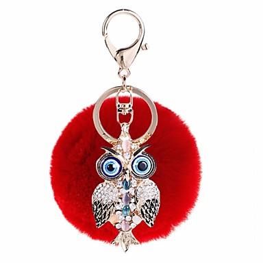 بوم سلسلة المفاتيح الفيروزي أحمر زهري غير منتظم حيوان زركون شعر الأرنب سبيكة غطاءمغطى بالالماس / حجر كريم موضة من أجل هدية مواعدة