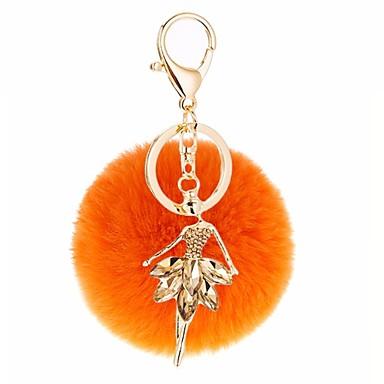 سلسلة المفاتيح برتقالي رمادي خمر غير منتظم شعر الأرنب سبيكة الناس صورة من أجل هدية مناسب للبس اليومي