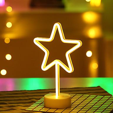 1SET الجدول مصباح الليل أبيض دافئ بطاريات آ بالطاقة للأطفال / زفاف / عيد ميلاد <5 V