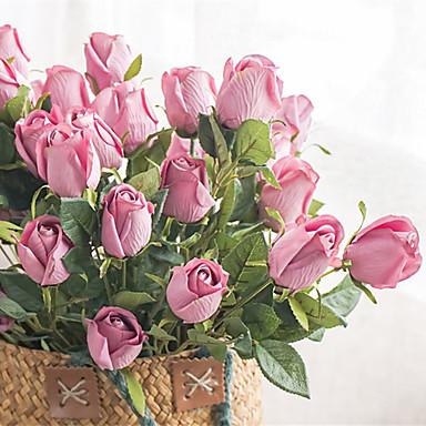 زهور اصطناعية 1 فرع كلاسيكي عتيق أوروبي الورود أزهار الطاولة