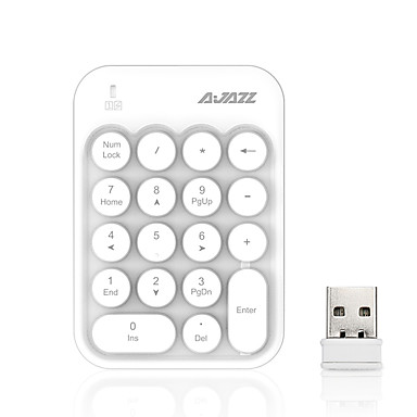 AJAZZ AK18 2.4GHz اللاسلكية لوحة المفاتيح رقم لوحة المفاتيح مكتب ميني هادئ 18 pcs مفاتيح