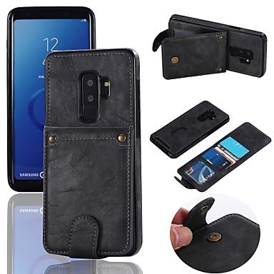 غطاء من أجل Samsung Galaxy S9 / S9 Plus / S8 Plus حامل البطاقات / ضد الصدمات / مع حامل غطاء خلفي لون سادة قاسي جلد PU