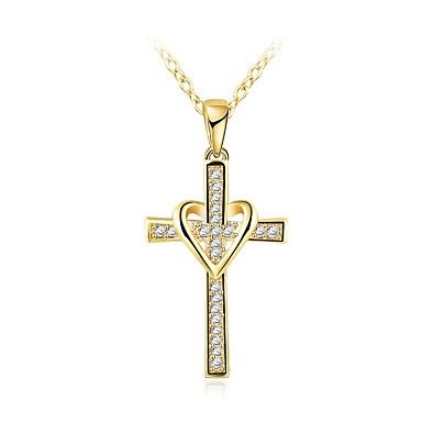 رجالي قلائد الحلي كلاسيكي ستايل صليب أنيق حجر الراين سبيكة ذهبي 46+5 cm قلادة مجوهرات 1PC من أجل مناسب للبس اليومي