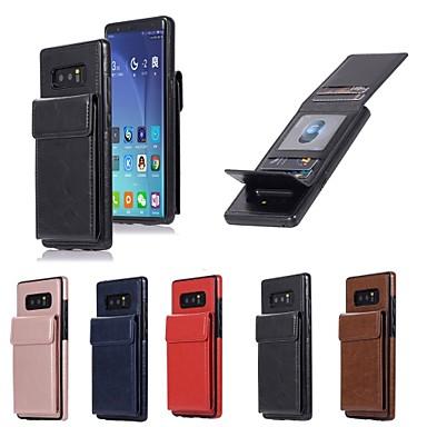 غطاء من أجل Samsung Galaxy Note 8 محفظة / حامل البطاقات / مع حامل غطاء خلفي لون سادة قاسي جلد PU