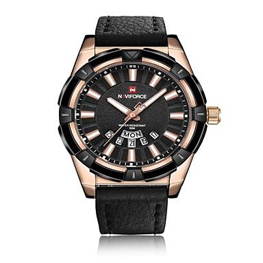 levne Pánské-NAVIFORCE Pánské Sportovní hodinky Vojenské hodinky Navy Seal Watch japonština Japonské Quartz Pravá kůže Černá / Modrá / Hnědá 30 m Voděodolné Kalendář Odolný vůči nárazu Analogové Luxus Módní -