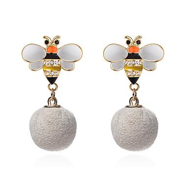 نسائي أقراط الزر ستايل كرة كرة نحلة سيدات أوروبي موضة لطيف حجر الراين الأقراط مجوهرات أبيض من أجل فضفاض 1 زوج