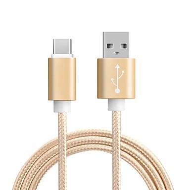 Typ C Adaptér kabelu USB Pletený / Vysokorychlostní / Rychlé nabíjení Kabel Pro Samsung / Huawei / MacBook Pro 100 cm Pro Nylon