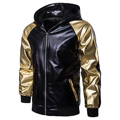 رجالي مناسب للبس اليومي / الرياضة الشتاء / خريف & شتاء عادية جاكيت, متعدد اللون مع قبعة كم طويل بوليستر ذهبي / أسود
