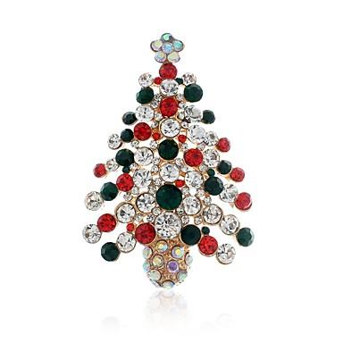 نسائي دبابيس كلاسيكي شجرة الكريسماس سيدات أنيق كلاسيكي حجر الراين بروش مجوهرات ذهبي من أجل عيد الميلاد