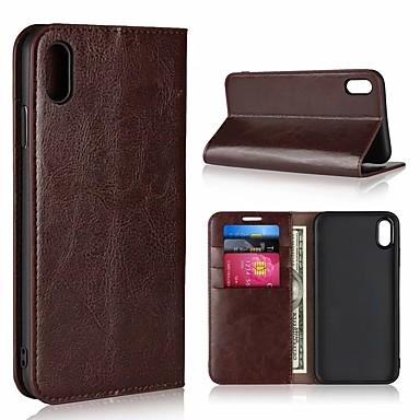 Недорогие Кейсы для iPhone-Кейс для Назначение Apple iPhone XS / iPhone XR / iPhone XS Max Кошелек / Бумажник для карт / Флип Чехол Однотонный Твердый Настоящая кожа
