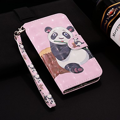 غطاء من أجل Samsung Galaxy A5(2018) / A6 (2018) / A6+ (2018) محفظة / حامل البطاقات / مع حامل غطاء كامل للجسم باندا قاسي جلد PU