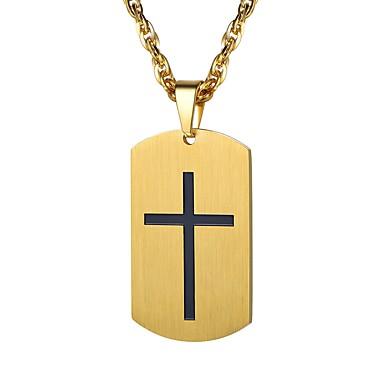billige Halskjeder-Herre Anheng Halskjede Elegant Kors Mote Rustfritt Stål Gull Sølv 55 cm Halskjeder Smykker 1pc Til Gave Daglig