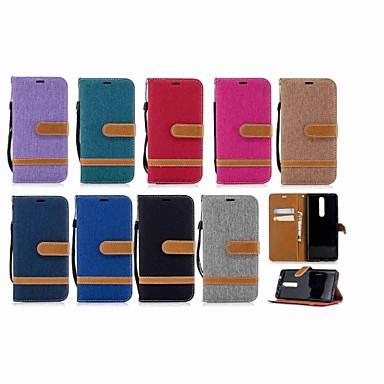 غطاء من أجل نوكيا Nokia 5.1 / Nokia 3.1 / Nokia 2.1 محفظة / حامل البطاقات / مع حامل غطاء كامل للجسم لون سادة قاسي منسوجات