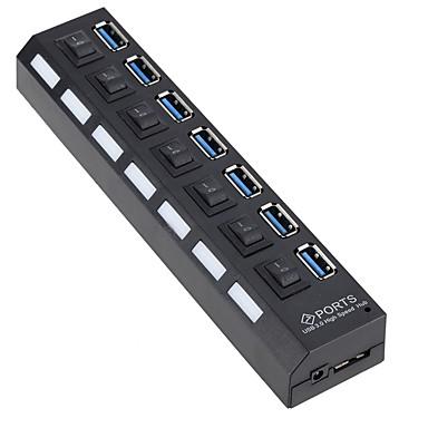 EU  Stik / US Stik to USB 3.0 USB Hub 7 Havne Højhastighed / Med kontakt (er)