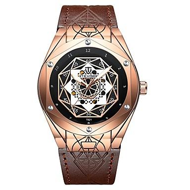 Χαμηλού Κόστους Ανδρικά ρολόγια-Tevise Ανδρικά μηχανικό ρολόι Ιαπωνικά Αυτόματο κούρδισμα Γνήσιο δέρμα Μαύρο / Καφέ 30 m Ανθεκτικό στο Νερό Νυχτερινή λάμψη Απίθανο Αναλογικό Καθημερινό Μοντέρνα Αριστο φαντασία -