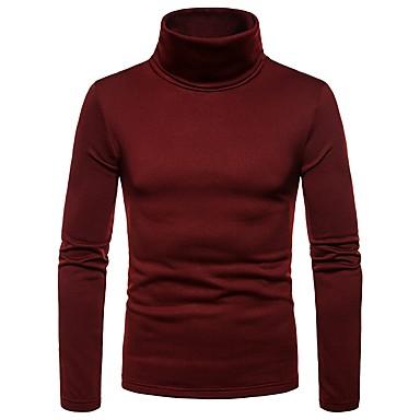 economico Abbigliamento uomo-T-shirt Per uomo Tinta unita A collo alto Blu marino L / Manica lunga