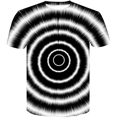 economico Abbigliamento uomo-T-shirt Per uomo Serata Essenziale / Moda città Con stampe, Monocolore / 3D Rotonda In bianco e nero Bianco XXL / Manica corta / Estate