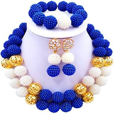 نسائي متعدد الطبقات مجموعة مجوهرات كرة سيدات, موضة تتضمن قلادة السواحل أحمر / أخضر / زهر فاقع من أجل زفاف / أقراط