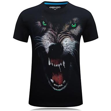 abordables Vêtements de Mode pour Hommes-Tee-shirt Grandes Tailles Homme, Animal Imprimé Chic de Rue Col Arrondi Loup Noir XXXXL / Manches Courtes / Eté