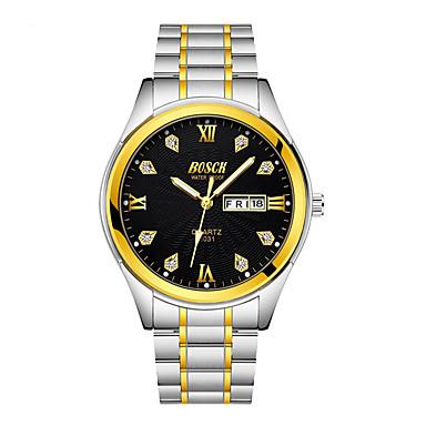 זול שעוני גברים-BOSCK בגדי ריקוד גברים שעון מכני מתכת אל חלד זהב 30 m עמיד במים לוח שנה אנלוגי קלסי יום יומי תבנית מפת העולם - זהב לבן שחור שנה אחת חיי סוללה