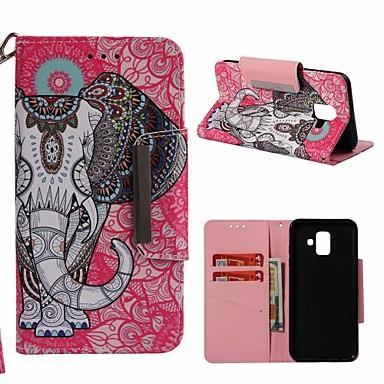 غطاء من أجل Samsung Galaxy A6 (2018) محفظة / حامل البطاقات / مع حامل غطاء كامل للجسم فيل قاسي جلد PU