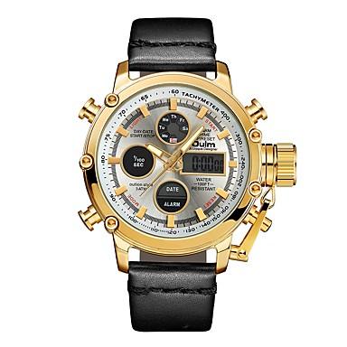 Χαμηλού Κόστους Ανδρικά ρολόγια-Oulm Ανδρικά Αθλητικό Ρολόι Στρατιωτικό Ρολόι Ψηφιακό ρολόι Ιαπωνικά Γιαπωνέζικο Quartz Δέρμα Μαύρο / Καφέ 30 m Ανθεκτικό στο Νερό Ημερολόγιο LCD Αναλογικό-Ψηφιακό Καθημερινό Μοντέρνα -  / SSUO 377