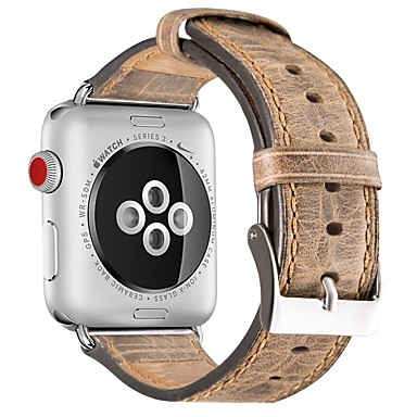 billige Herreure-Kalvehår Urrem Strap for Apple Watch Series 4/3/2/1 Brun / Gråt 23cm / 9 tommer 2.1cm / 0.83 Tommer
