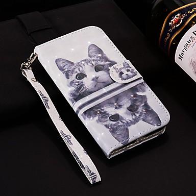 voordelige Galaxy J-serie hoesjes / covers-hoesje Voor Samsung Galaxy J8 (2018) / J7 (2017) / J7 (2018) Portemonnee / Kaarthouder / met standaard Volledig hoesje Kat Hard PU-nahka