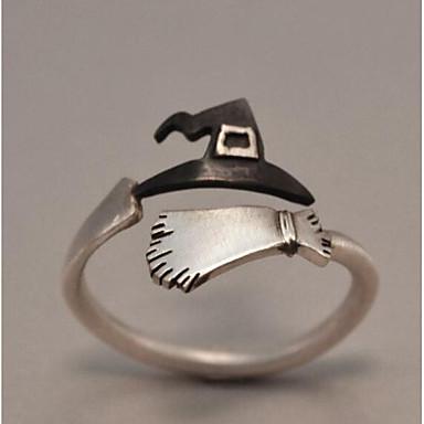 זול טבעות-בגדי ריקוד גברים סגנון וינטג' פתח את הטבעת לעטוף טבעת מצופה כסף יצירתי וינטאג' פאנק Fashion Ring תכשיטים כסף עבור חג מולד Halloween מתכוונן